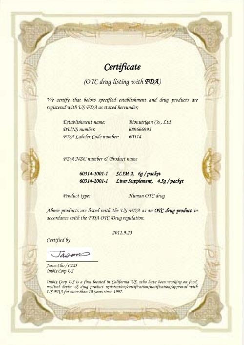 Company Certification Fda Otc 2011